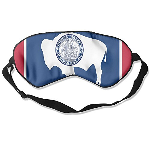 Wyoming State Flag Adult Children Unisex Sleeping Eye Mask Natural Silk Cover With Adjustable Strap Blindfold Super-smooth Eyeshade