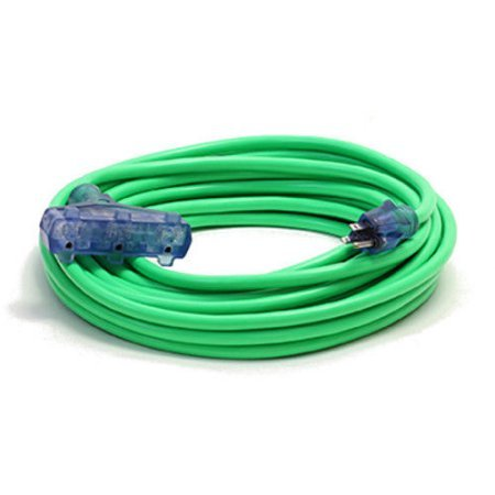 10 Gauge Triple Tap Extension Cord With Lighted Ends Century Contractor Grade 100' 10 Gauge Power Extension Cord 10/3 Plug Heavy Duty Indoor Outdoor Triple Outlet (100 ft 10 AWG Copper, green) by Century Extension Cord (Image #5)