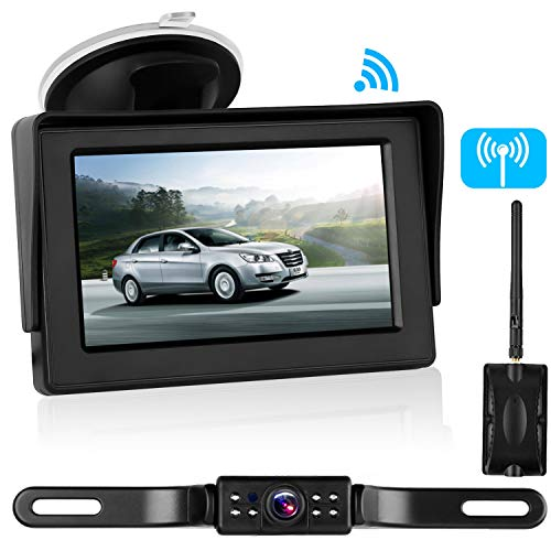 Emmako Backup Camera Digital Wireless and 4.3'' Monitor Kit No Flickers for Car/RV/Truck/5th Wheel/Trailer Guide Lines ON/Off IP68 Waterproof Rear/Side/Front Facing View System Reverse/Driving Use