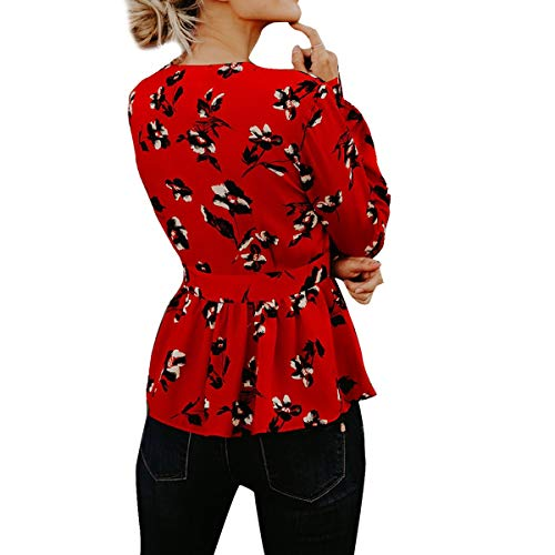 Red Blouse Hem Floral Manches Print Bow Femmes Volants Longues Tie V Slim Tops Neck aa1qxOY