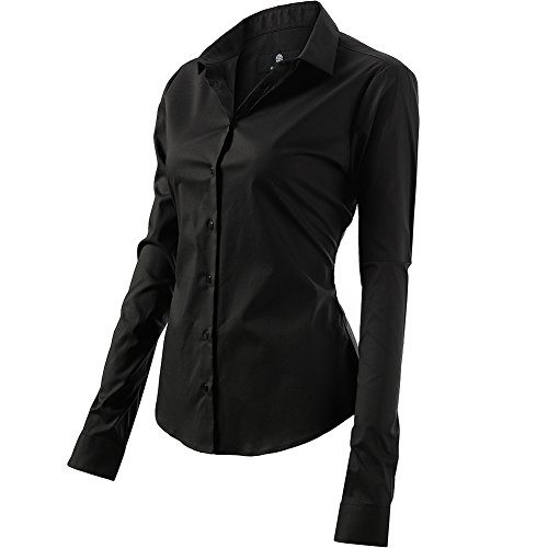 Harrms Shirts for Women Slim Fit Stretchy Cotton Black Button Down Shirts Size 8 by Harrms (Image #3)