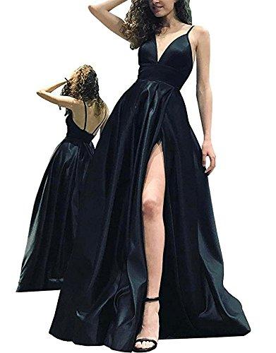 Chiffon Black Dresses Spaghetti Side High Women's Party Straps Split DreHouse Prom Gowns w6UYPWq