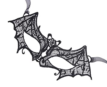 Encaje Negro Murciélago Diseño Transparente Halloween Fiesta De Máscaras Carnival Antifaz
