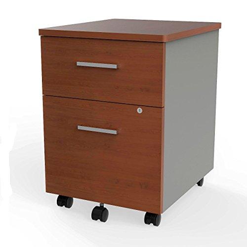 Linea Italia ZUC106 Filing Cabinets, Cherry/ Silver - Executive 2 Door Cabinet