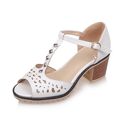 VogueZone009 Damen Eingelegt Mittler Absatz Fischkopf Schuhe PU Leder Schnalle Sandalen Weiß