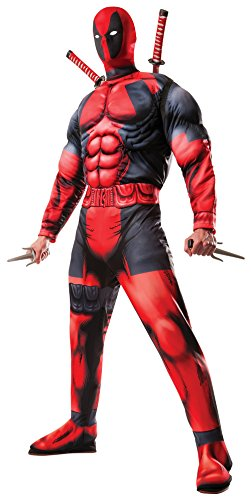 Deadpool Adult Mens Costumes (Rubie's Men's Marvel Universe Classic Muscle Chest Deadpool Costume,Multi-Colored,Standard)