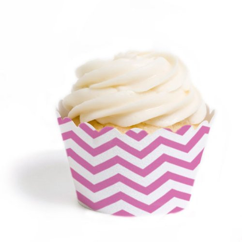 Dress My Cupcake Standard Cupcake Wrappers, Chevron, Cherry Blossom Pink, Set of 50 (50 Cherry Blossom)
