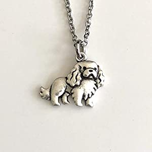Cavalier King Charles Dog Necklace on Stainless Steel Chain - Dog Mom Gift 2