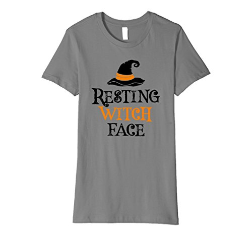 Womens Resting Witch Face T-Shirt Halloween Costume Tee Medium Slate -