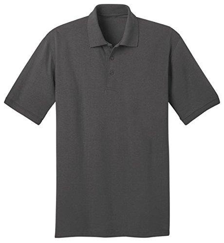 Ringspun Pique Shirt (Port & Company Ring Spun Pique Polo Shirt, Charcoal, XXXX-Large)
