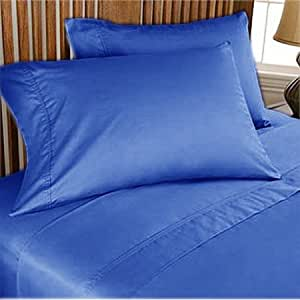 800TC ULTRA SOFT SILKY 100% EGYPTIAN COTTON 4 PIECE LUXURIOUS SHEET SET OLYMPIC QUEEN BLUE SOLID BY PEARLBEDDING
