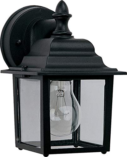 - Maxim 1025BK Builder Cast 1-Light Outdoor Wall Lantern, Black Finish, Clear Glass, MB Incandescent Incandescent Bulb , 13W Max., Damp Safety Rating, 2700K Color Temp, Glass Shade Material, 3600 Rated Lumens