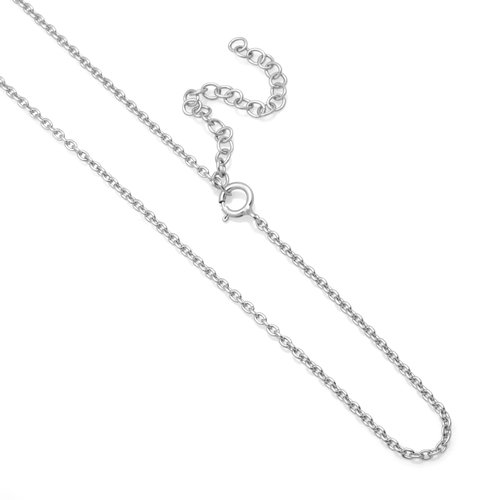 Rhodium Plated 925 Sterling Silver High Polish 1 mm Rolo Chain Necklace, 13-15 inches (Rolo Rhodium Plated)