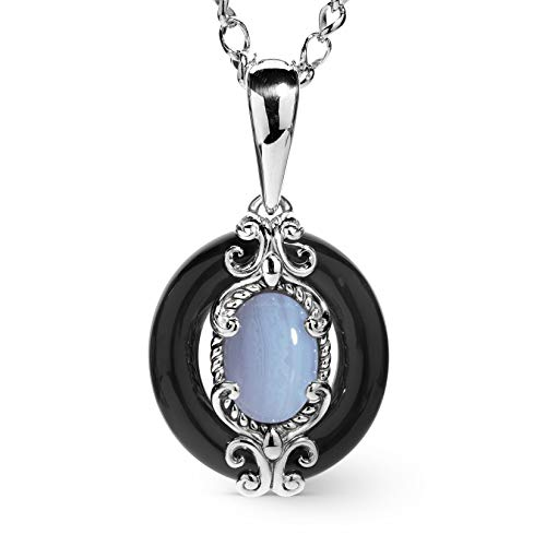 (Carolyn Pollack Sterling Silver Black Agate & Blue Lace Agate Gemstone Pendant Necklace)