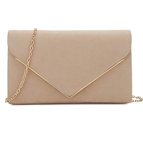 Charming-Tailor-Faux-Suede-Clutch-Bag-Elegant-Metal-Binding-Evening-Purse-for-WeddingPromBlack-Tie-Events