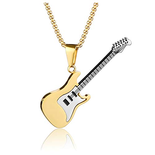 Jovivi Men Women Stainless Steel Classic Army Military Guitar Dag Tag Necklace Music Pendant for Him Husband Birthday Couples