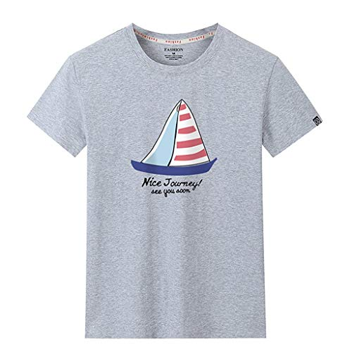 Stoota Men's Tops Summer,Tee Casual Fashion Printing Patchwork O-Neck T-Shirt Gray]()