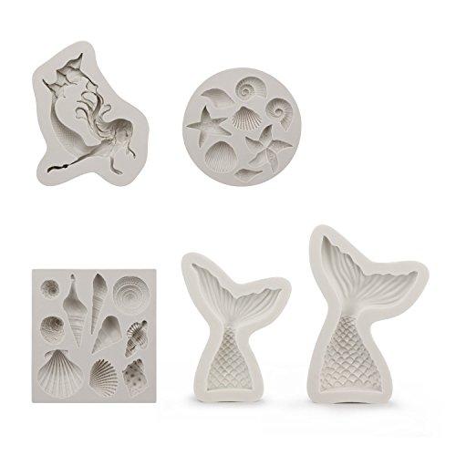 Silicone Cake Molds,Beasea 5pcs Novel Seashell Silicone Mermaid Mold Kit for Chocolate Fondant Silicone Baking Mold Handmade Craft Art Tool -