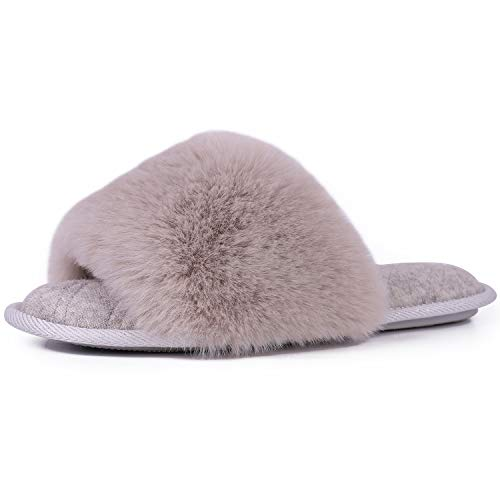 LongBay Women's Fuzzy Faux Fur Memroy Foam Flat Spa Slide Slippers Open Toe House Shoes Sandals (Medium / 7-8 B(M) US, Gray)