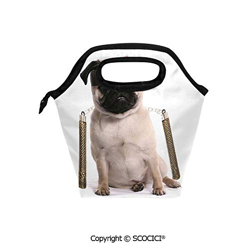 Picnic Food Insulated Cooler Tote Lunch Bag Ninja Puppy with Nunchuk Karate Dog Eastern Warrior Inspired Costume Pug Image Decorative Organizer Lunchbox for Women Men Kids.