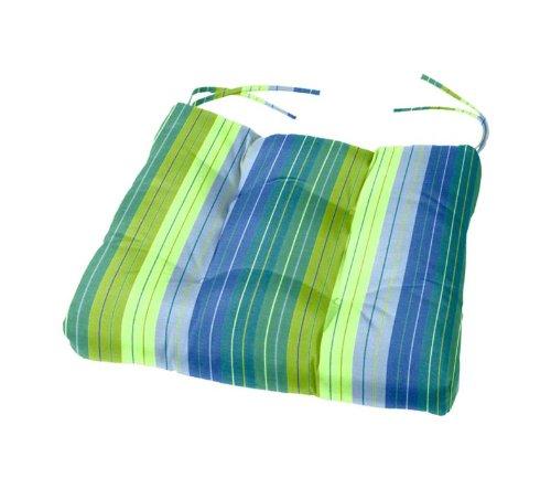 "Tufted Sunbrella Chair Cushion   15"" x 15"" x 3""   Cushion Source   Indoor/Outdoor   Sunbrella Seville Seaside (5608-0000)"