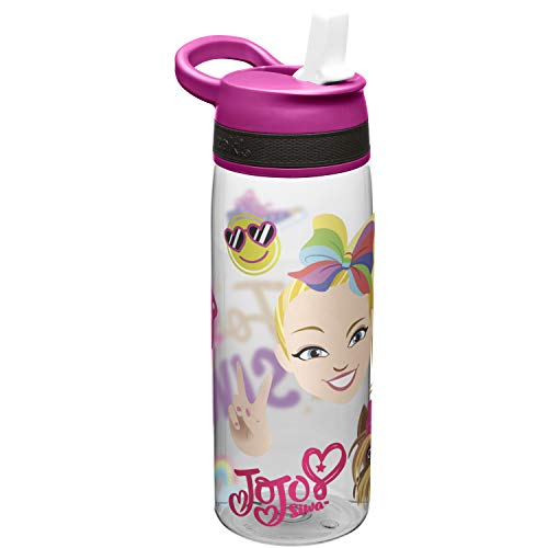 Zak Designs Jojo Siwa Kids Water Bottle with Straw and Built-in Carrying Loop, Durable Water Bottle Has Wide Mouth and Break Resistant Design is Perfect for Kids (25oz, Pink, Tritan, BPA-Free)