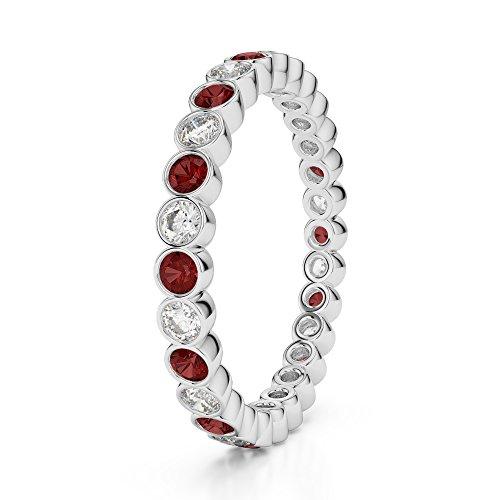 Or blanc 18carats 0,38CT G-H/VS sertie de diamants ronds Cut Grenat et éternité Bague Agdr-1099