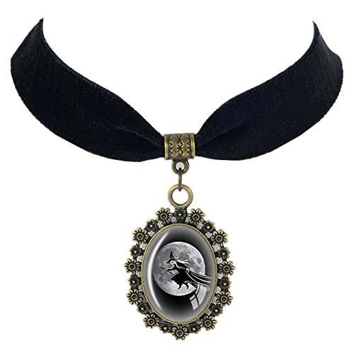 (Paialco Halloween Oval Glass Pendant Black Ribbon Necklace, Hag on)