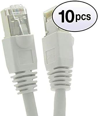 10 Pack Snagless 7 Foot CAT5E Shielded Ethernet Patch Cable White