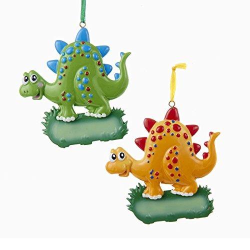 Kurt Adler 2 Assorted Cute Dinosaur Kids Ornaments