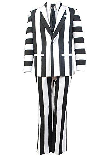 Beetlejuice Michael Keaton Black White Suit Halloween Cosplay Costume Outfit - Girl Beetlejuice Costume