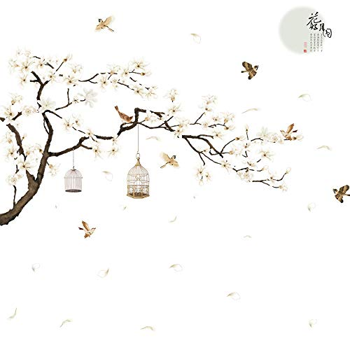 LiveGallery White Peach Blossm Flowers Wall Decals Removable DIY Tree Branches Birds Saying Art Decor Wall Stickers Murals for Living Room TV Background Kids Girls Rooms Bedroom 8 Sheets of 12