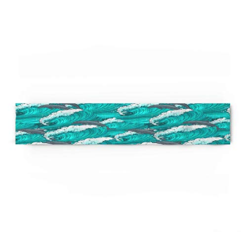Beauty Decor Polyester Fabric Dolphin Natural Rectangle Lace Table Runners Surfing Dolphins in Waves Water Sketch Sea Ocean 13x90inch