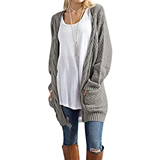 U.Vomade Womens Sweaters Boho Long Sleeve Open Front Cable Knit Cardigan Grey M