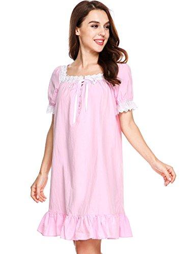Arshiner Ropa de Dormir para Mujer Vestido Algodón Manga Corta Pijama Ropa Interior�?Rosa claro