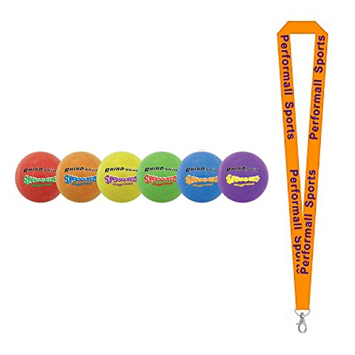 Champion Sports Rhino Skin Super Squeeze Playground Ball Set Assorted (Set of 6) with 1 Performall Lanyard SQPGSET-1P by Performall Sports Dodgeballs