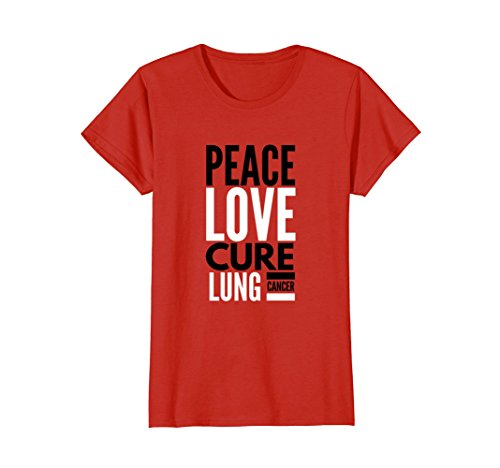 Womens PEACE LOVE CURE Lung Cancer Awareness Shirt Large Red -