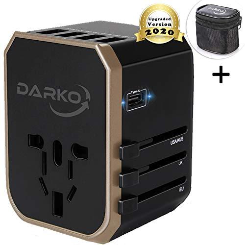Universal Adapter, Multi Adapter Worldwide, International Power Adapter 4 USB Fast Charging Type-C Port, Plug Adapter…
