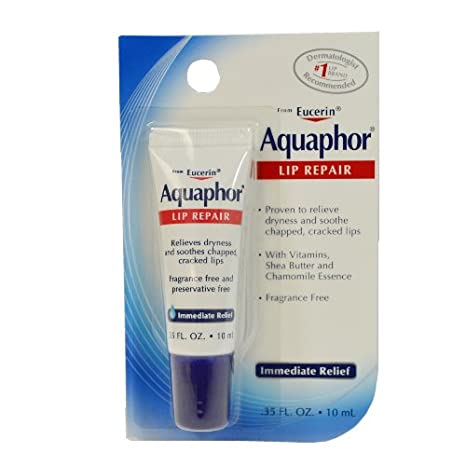 Aquaphor Lip Repair Ointment Tube, Immediate Relief - 0.35 Oz, 3 Pack Anti-dust Winter Fleece Warm Full Face Cover Balaclava Windproof Ski Mask-Red
