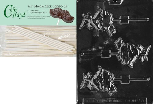 (Cybrtrayd 45St25-H076 Witch on Broom Lolly Halloween Chocolate Candy Mold with 25 4.5-Inch Lollipop)
