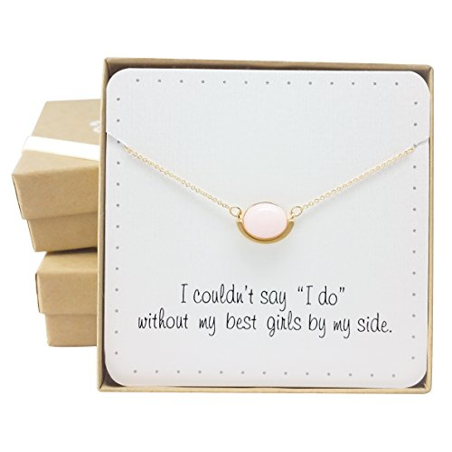 [Bridesmaid Gifts in a Box - Pretty Pink Quarts Oval Necklace, 16