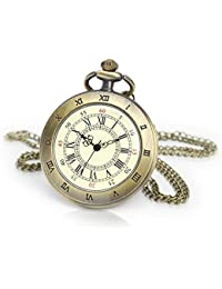 Open Face Pocket Watches for Me Bronze Roman Numerals Pocket Watches
