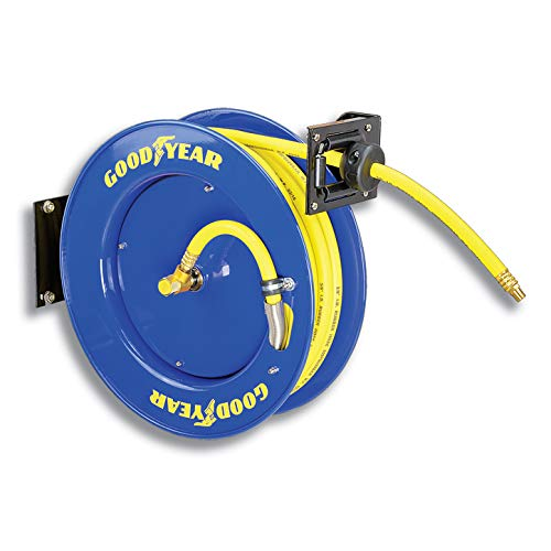 Goodyear L815153G Steel Retractable Air Compressor/Water Hose Reel with 3/8 in. x 50 ft. Rubber Hose, Max. 300PSI by Goodyear (Image #1)