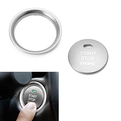 iJDMTOY 2pc Set Silver Aluminum Keyless Engine Push Start Button & Surrounding Decoration Ring For Mazda 3 6 CX-3 CX-5 CX-9 MX-5 w/Push Start Engine (Mazdaspeed Power Slot)