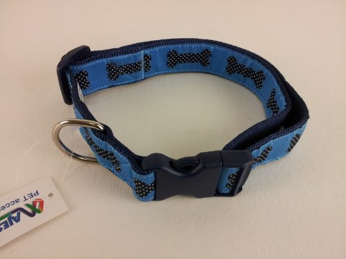 Dog Collars Dotted Ribbon (La Petrick Basic Ribbon Blue Dotted Bones Collar, X-Large)