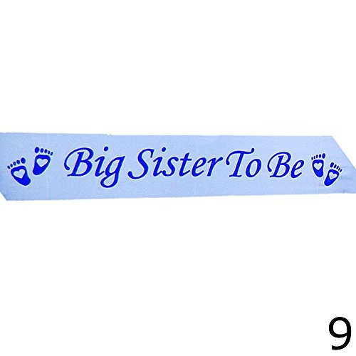 Taloyer Blue / Pink Baby Shower Sashes Mummy Nanny Aunty Big Sister & Grandma to be Party Shoulder Strap Etiquette Belt (Blue Big sister to be)]()