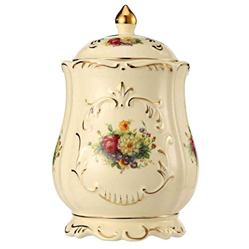 Funeral Urns Adult Ashes, Cremation Urns for Human Ashes - Made in Ceramics and Hand-Painted - Display Burial Urns at Home or in Niche at Columbarium (Roses and Golden Flower Edge, Yellow Medium Urn