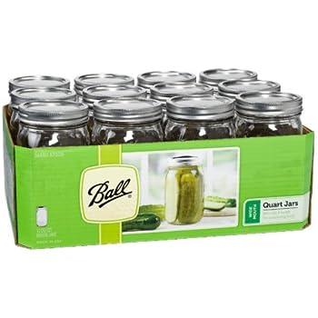 Ball Wide Mouth Quart Glass Jars 12 Pack | Freezer Safe (32 OZ)