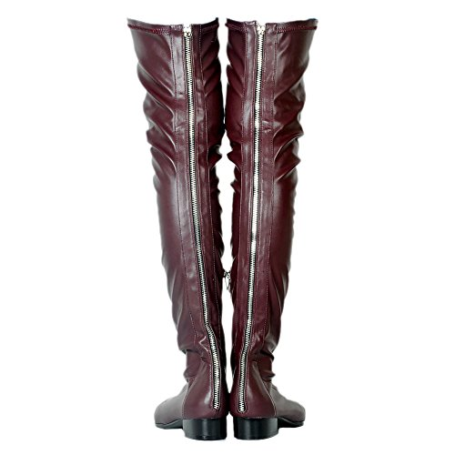 Flat Sexy Burgundy Zipper Back With Toe Boots Thigh Women's Shoes EKS Black High slouchy Pointed q6FwFx
