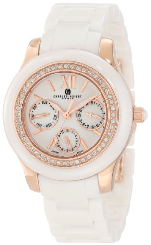 Charles-Hubert, Paris Women's 6810-W Premium Collection Ceramic and Stainless Steel with Swarovski Crystal Watch